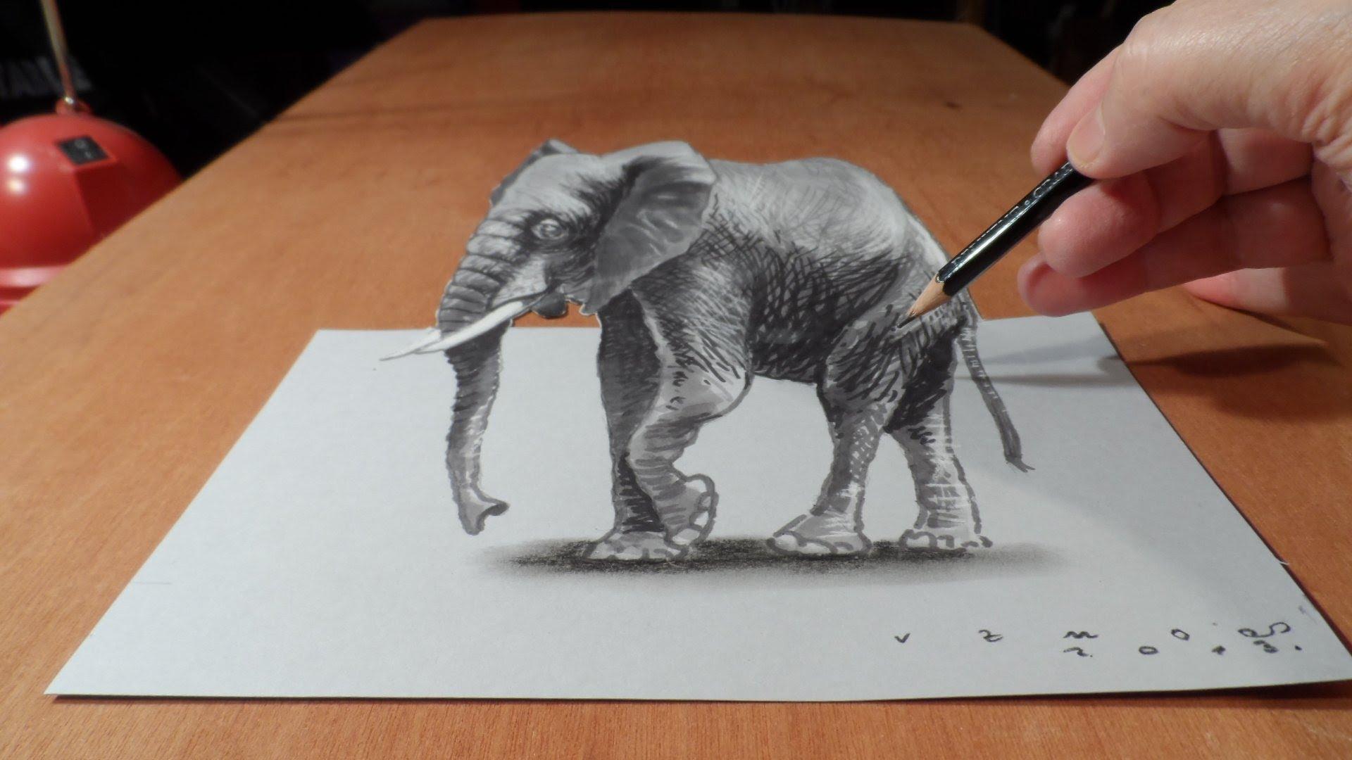 1920x1080 3d Pencil Sketch Animals Drawing 3d Elephant