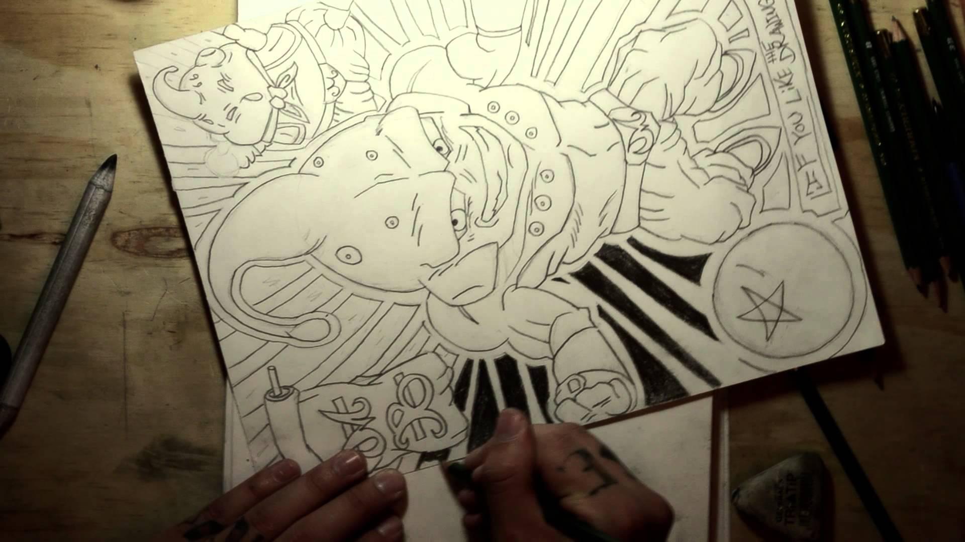 1920x1080 Drawing Ideas Dragon Ball Z Majin Buu, Bluddy Pencil Style