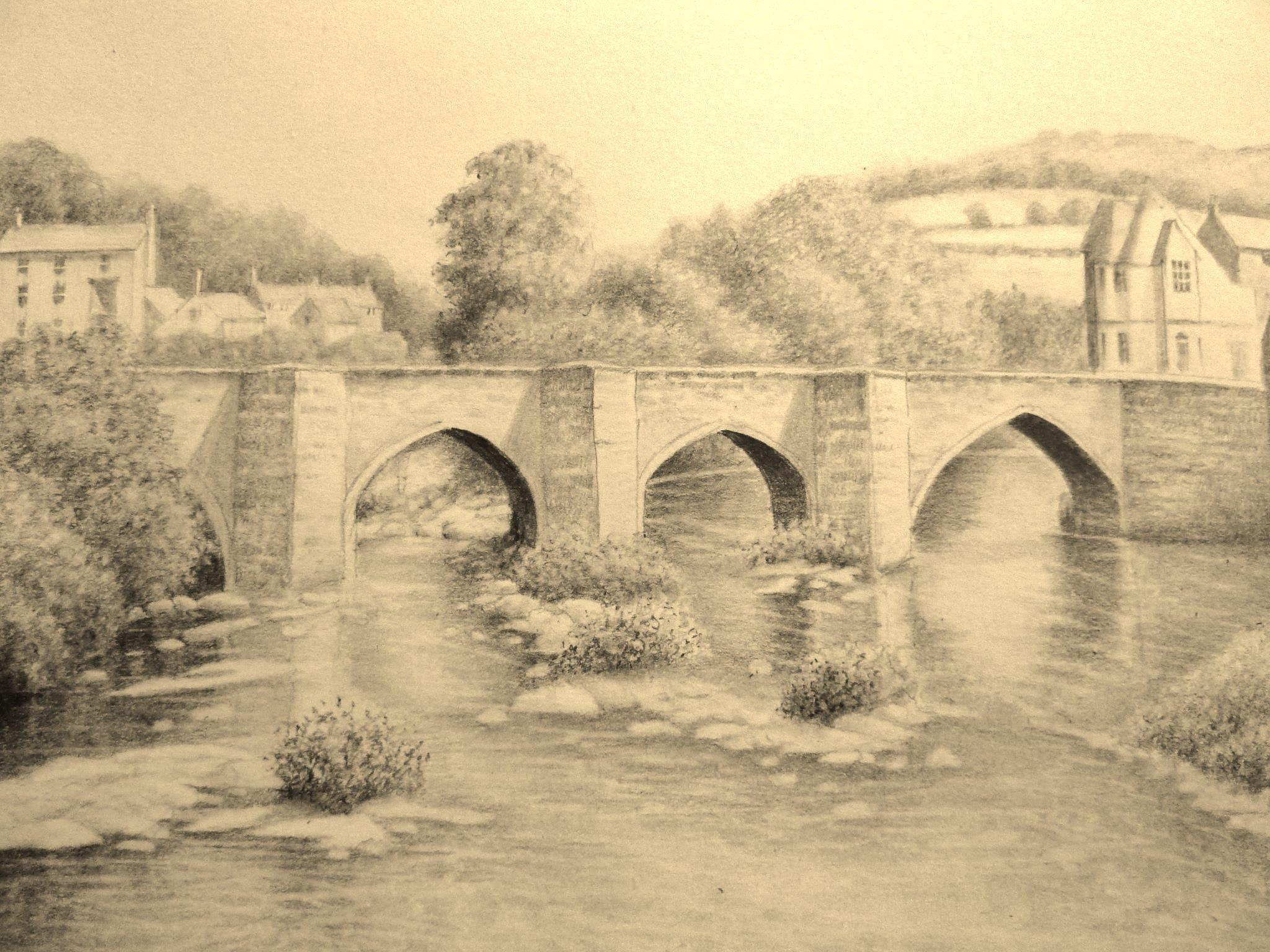 2048x1536 Landscape Graphite Pencil Drawing, Llangollen Bridge, Wales