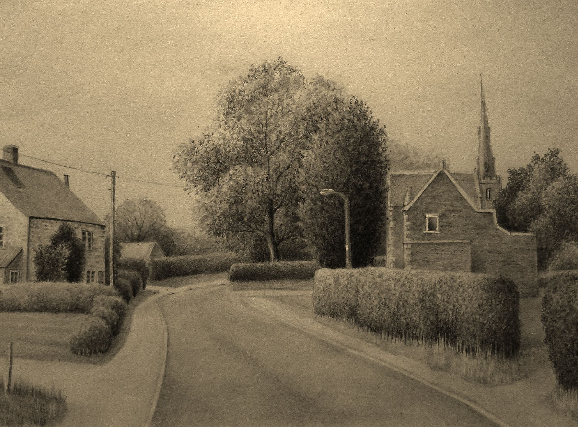 2012x1486 Landscape Pencil Drawing, A South Leicestershire Village