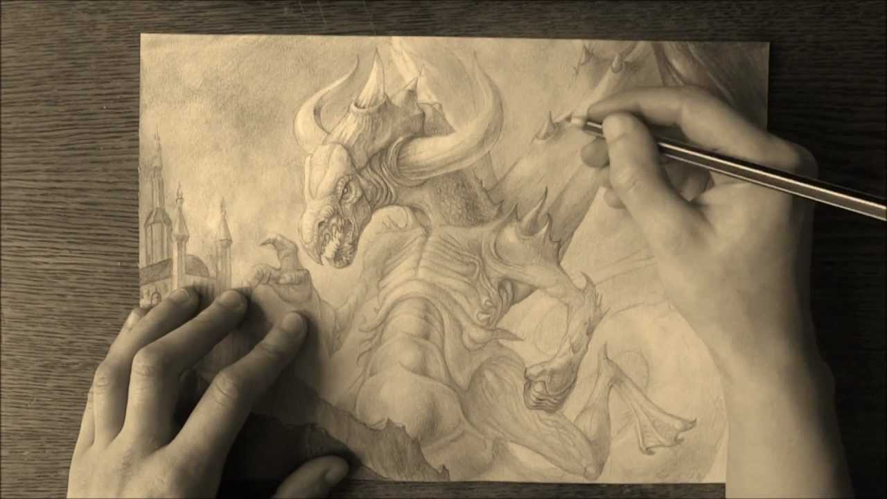 1280x720 Pencil Drawing Of A Dragon The Dragon (Pencil Drawing)