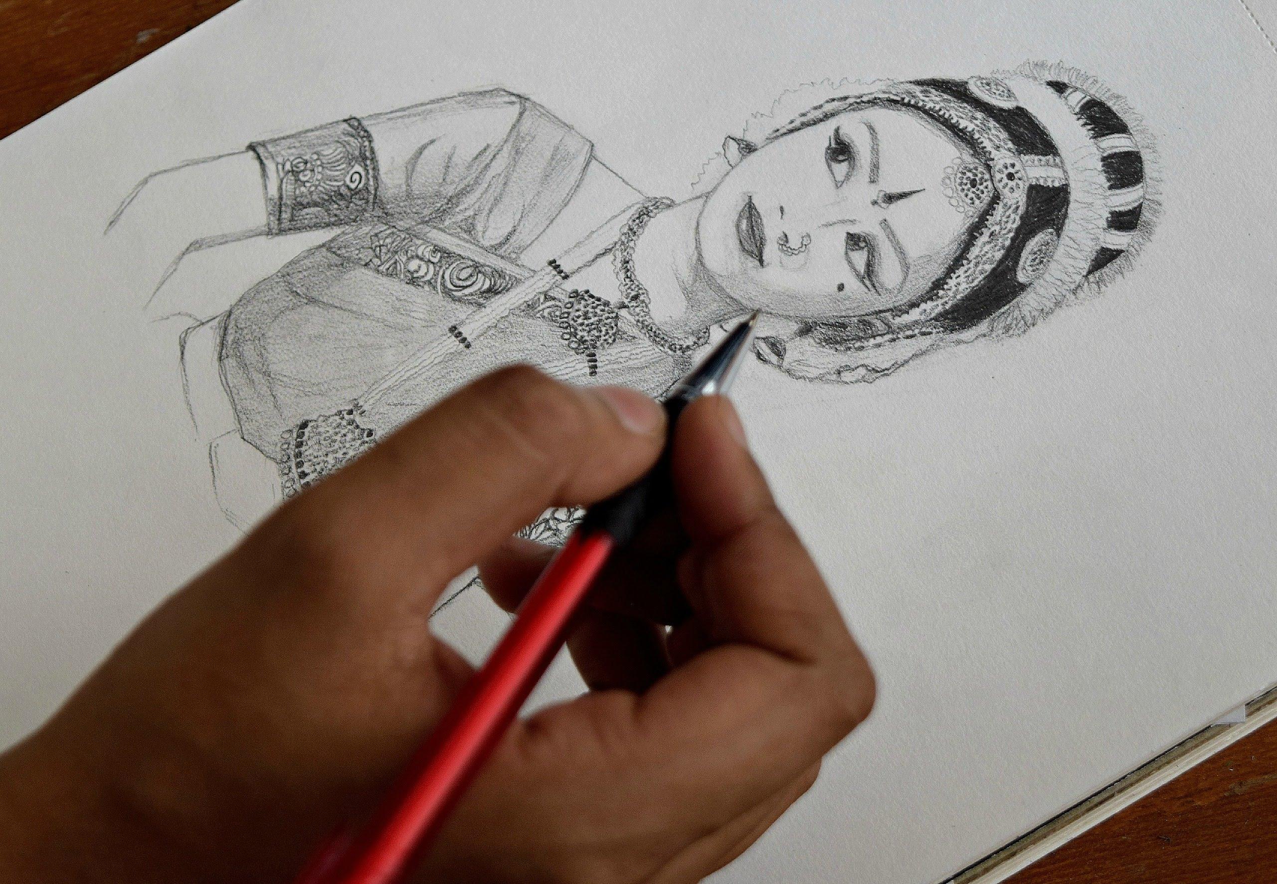 2561x1773 Pencil Sketch (Classical Dancer)