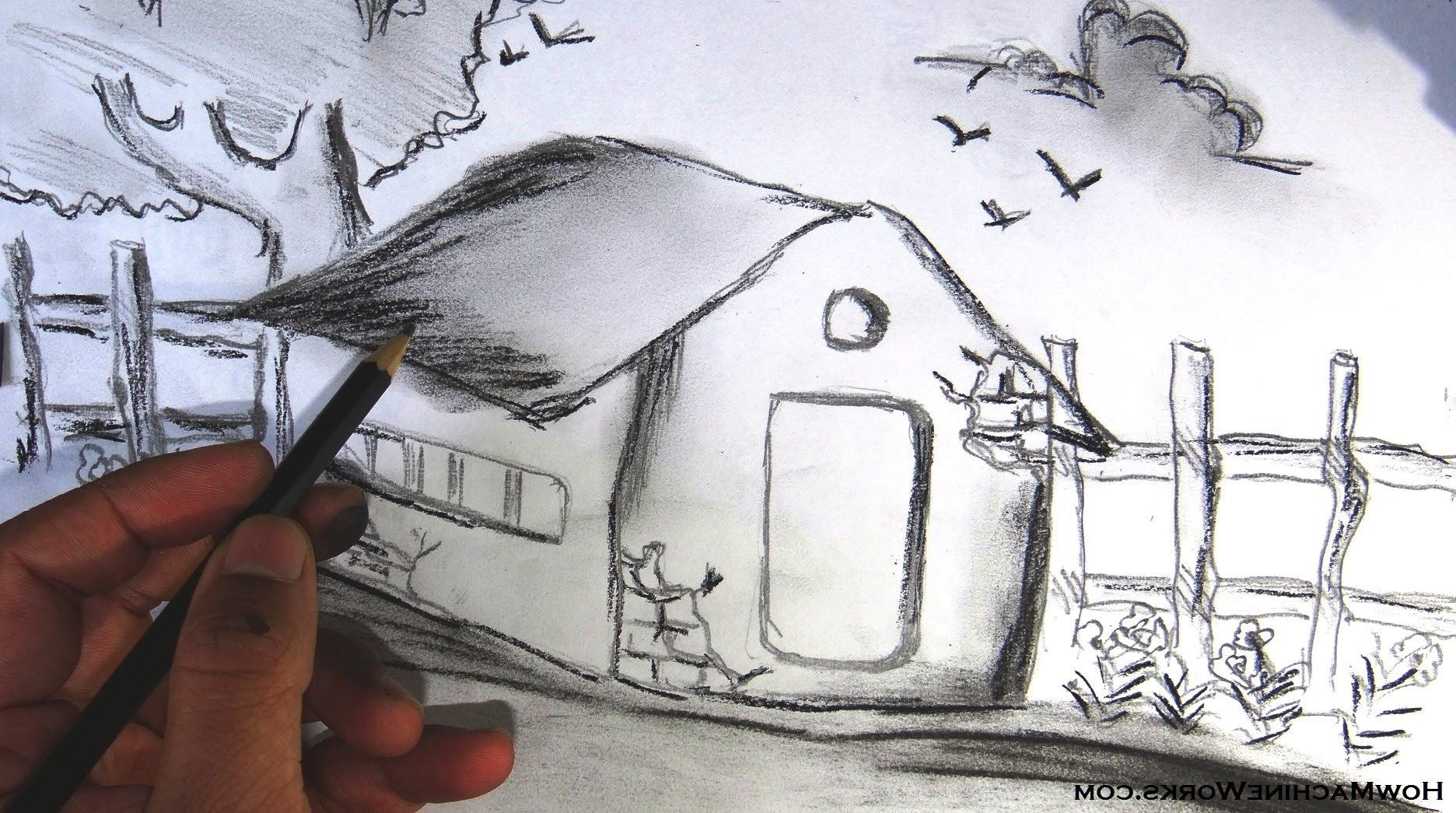 1872x1045 Simple Pencil Sketches Nature How To Draw A Scenery