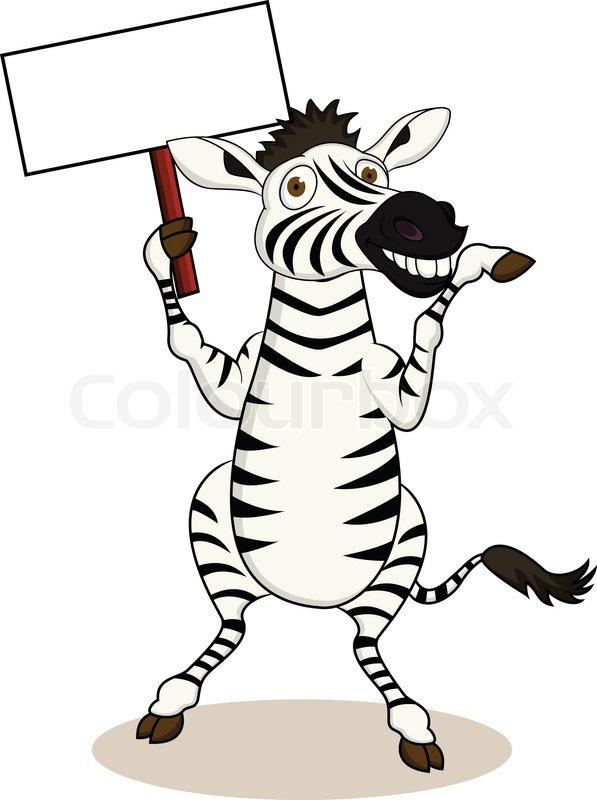597x800 Zebra Cartoon With Blank Sign Stock Vector Colourbox