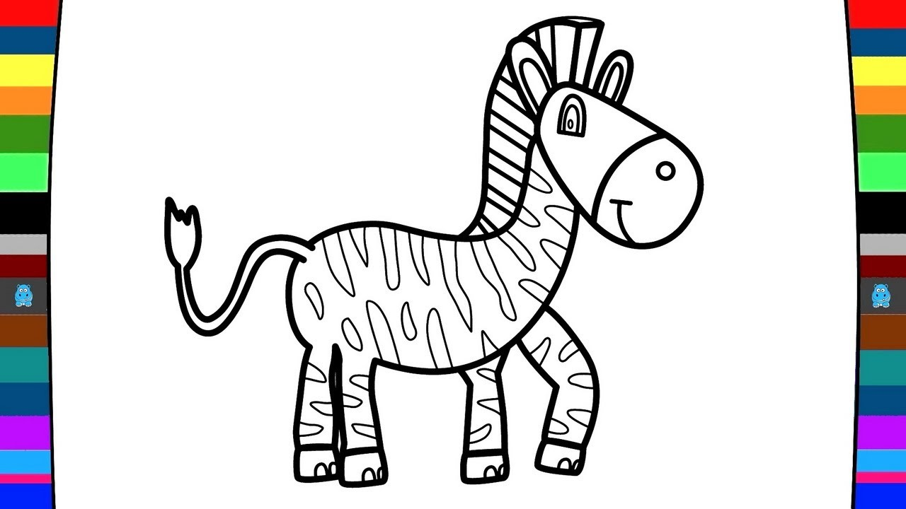 1280x720 Animal Coloring Pages How To Draw A Zebra Drawing And Coloring