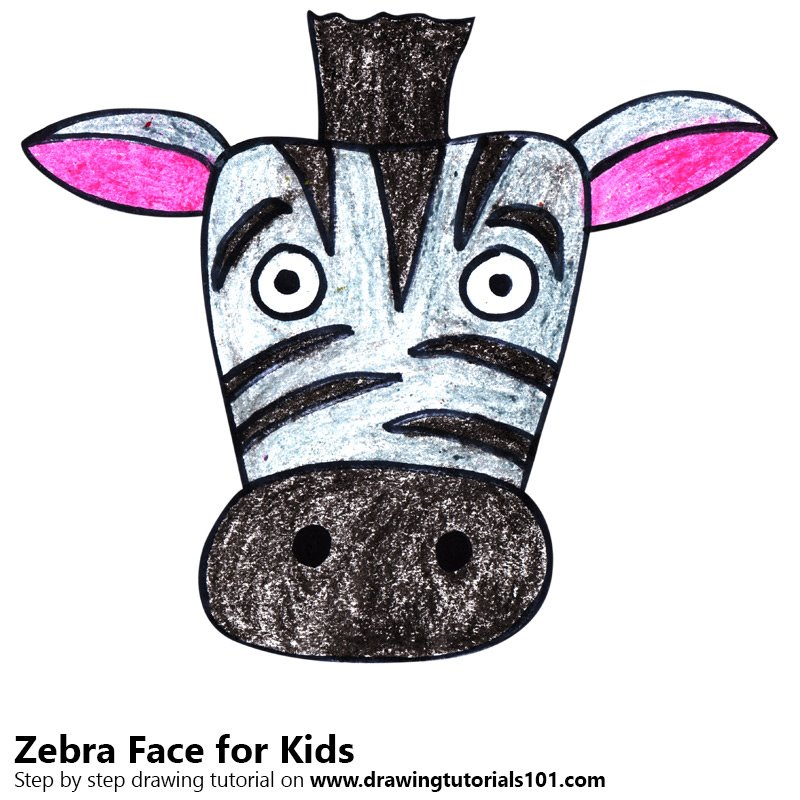 800x800 Learn How To Draw A Zebra Face For Kids (Animal Faces For Kids