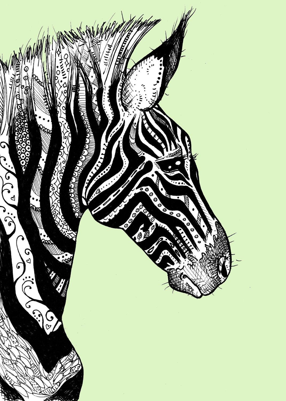 1070x1500 Tattooed Zebra Print 1 On Bright Yellow Zebra Print, Tattoo