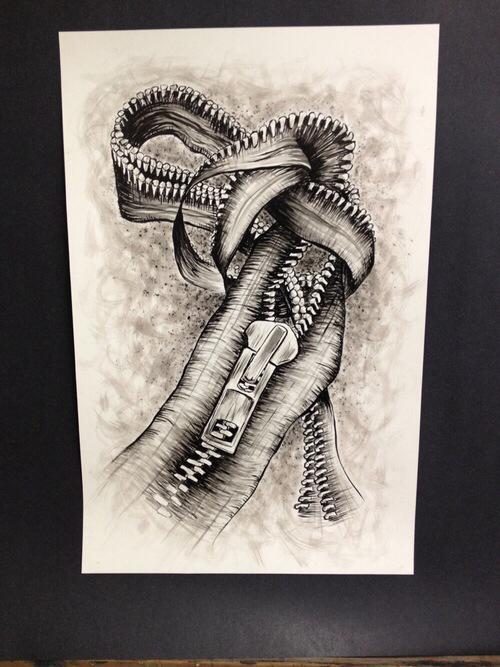 500x667 Zipper Drawing Artwork Zippers Art