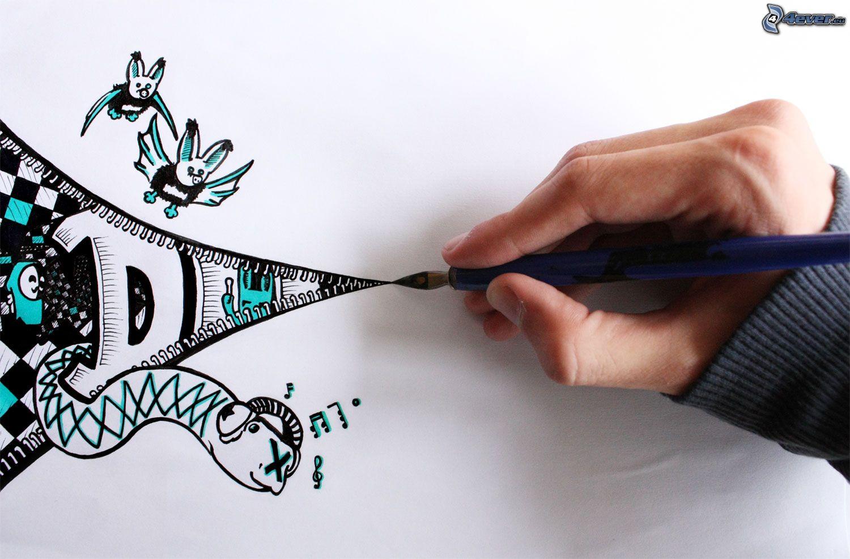 1500x987 Drawing, Hand, Bats, Snake,