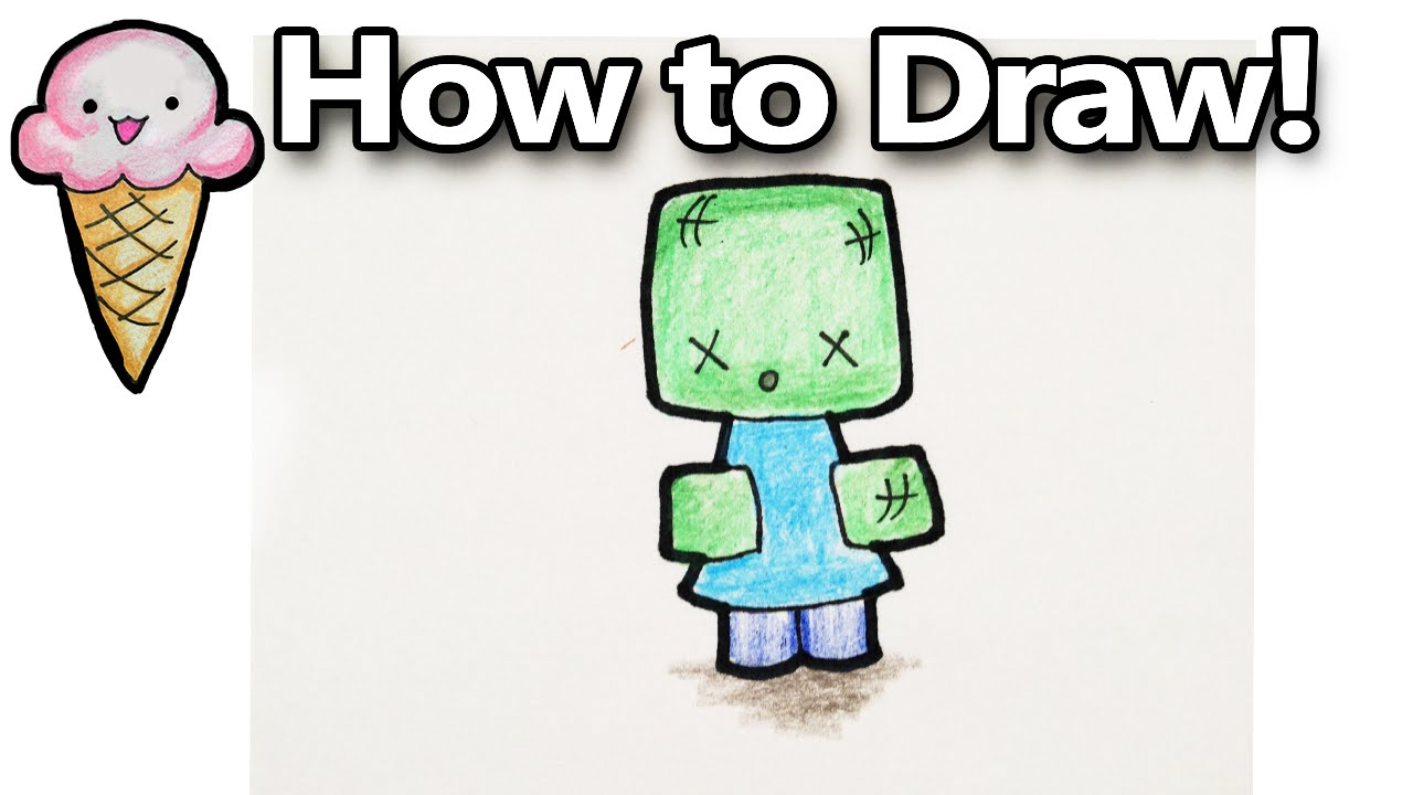 1280x720 How To Draw A Minecraft Zombie Cartoon Cute Kawaii