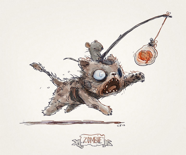 774x647 Staresica Cute Zombie Cat Drawing By Charles Santoso. He'S