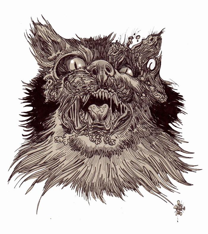 701x787 Zombie Art Zombie Cat Head