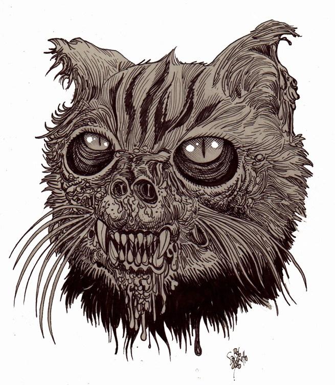 655x752 Zombie Art Zombie Cat Head