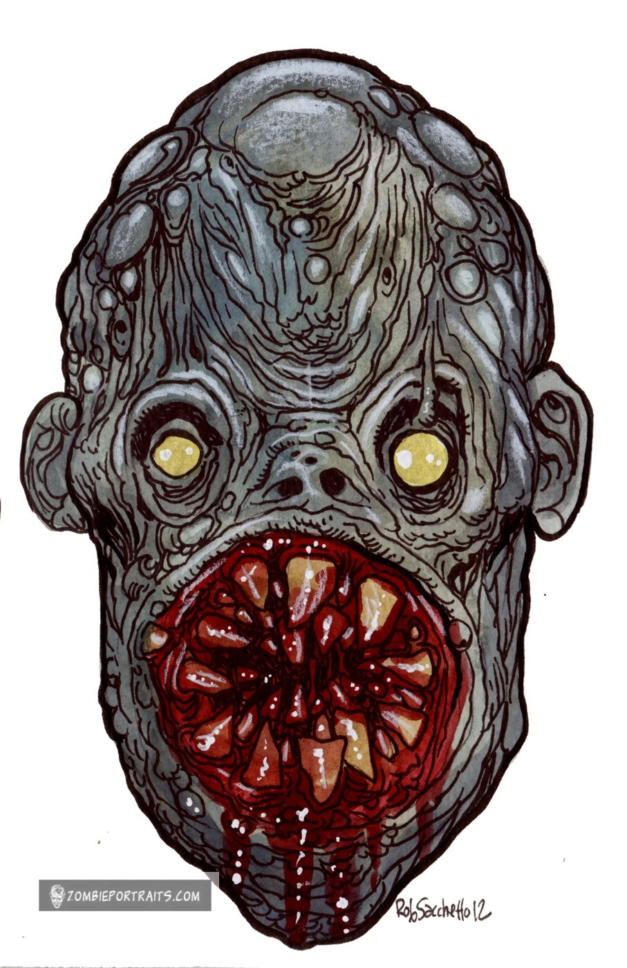 907x1400 Heads Of The Living Dead Circular Saw Mouth Zombie