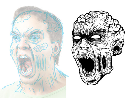 450x329 How To Create A Gruesome Zombie Illustration