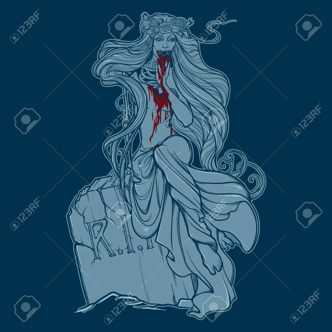 1300x1300 Zombie Girl With A Sewed Up Mouth. Royalty Free Cliparts, Vectors