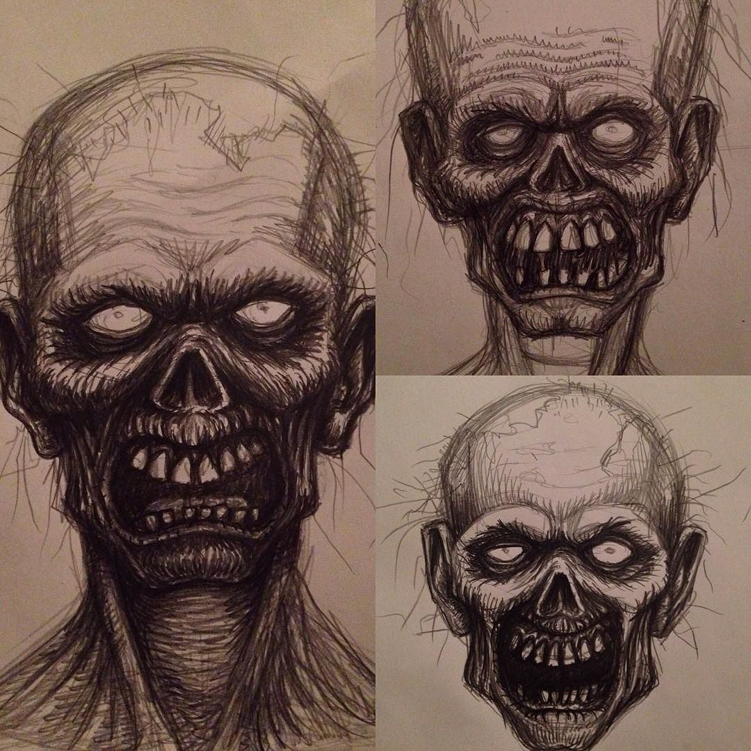 1080x1080 Zombie Head Pencil Drawings.