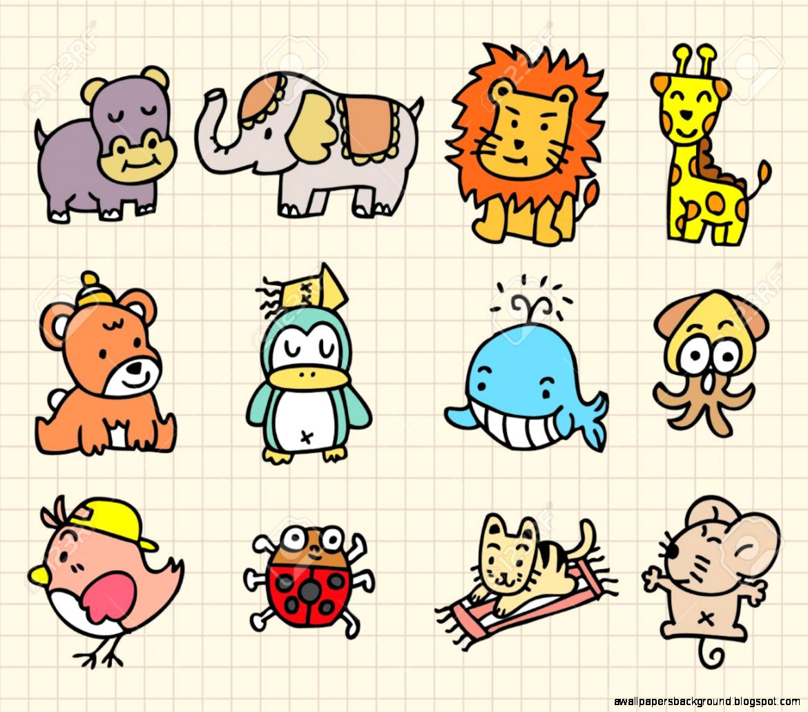 1170x1031 Cute Zoo Animals Drawings Wallpapers Background