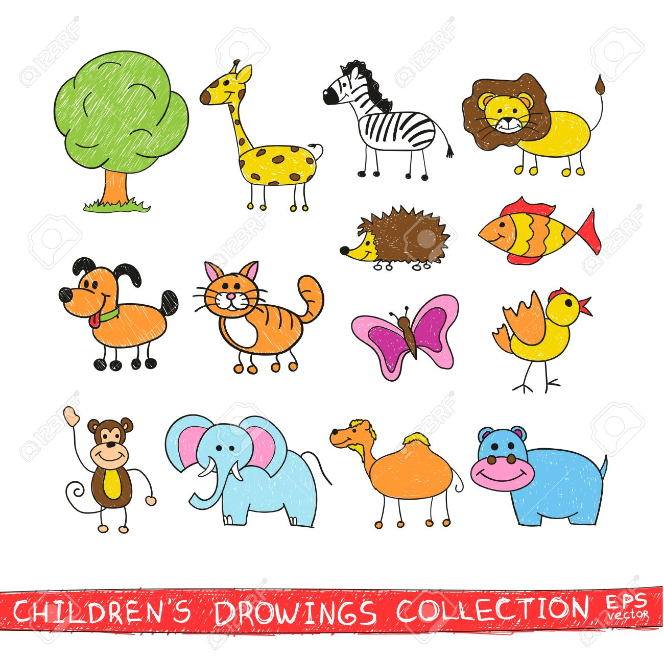 1300x1297 Funny Zoo In Child Hand Drawing Image. Cartoon Illustration