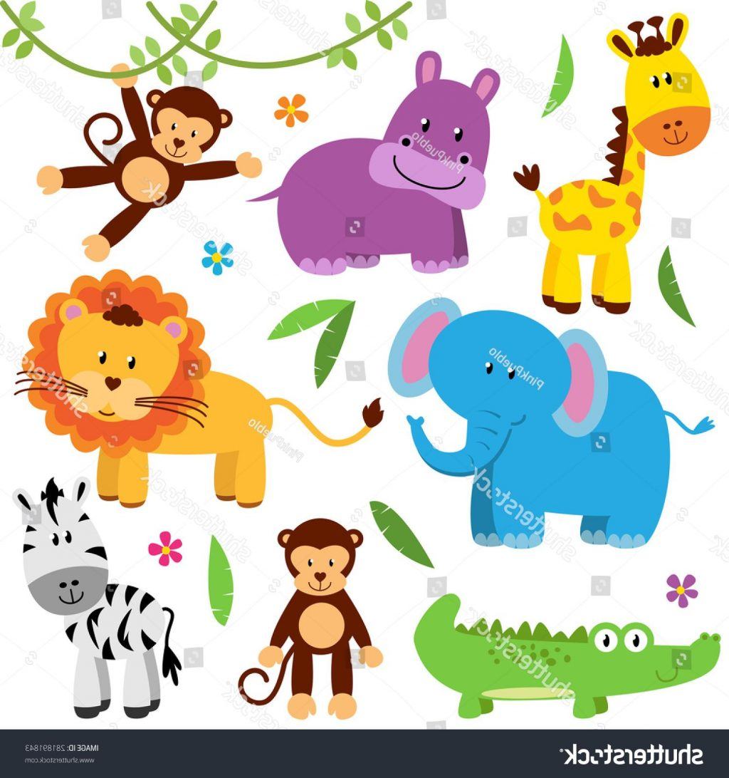 1024x1092 Hd Stock Vector Cute Set Of Zoo Animals Drawing
