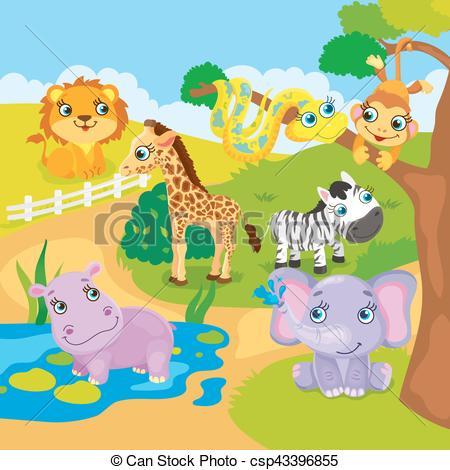 450x470 Cute Cartoon Zoo Animals. Vector Illustration Of Zoo Animals