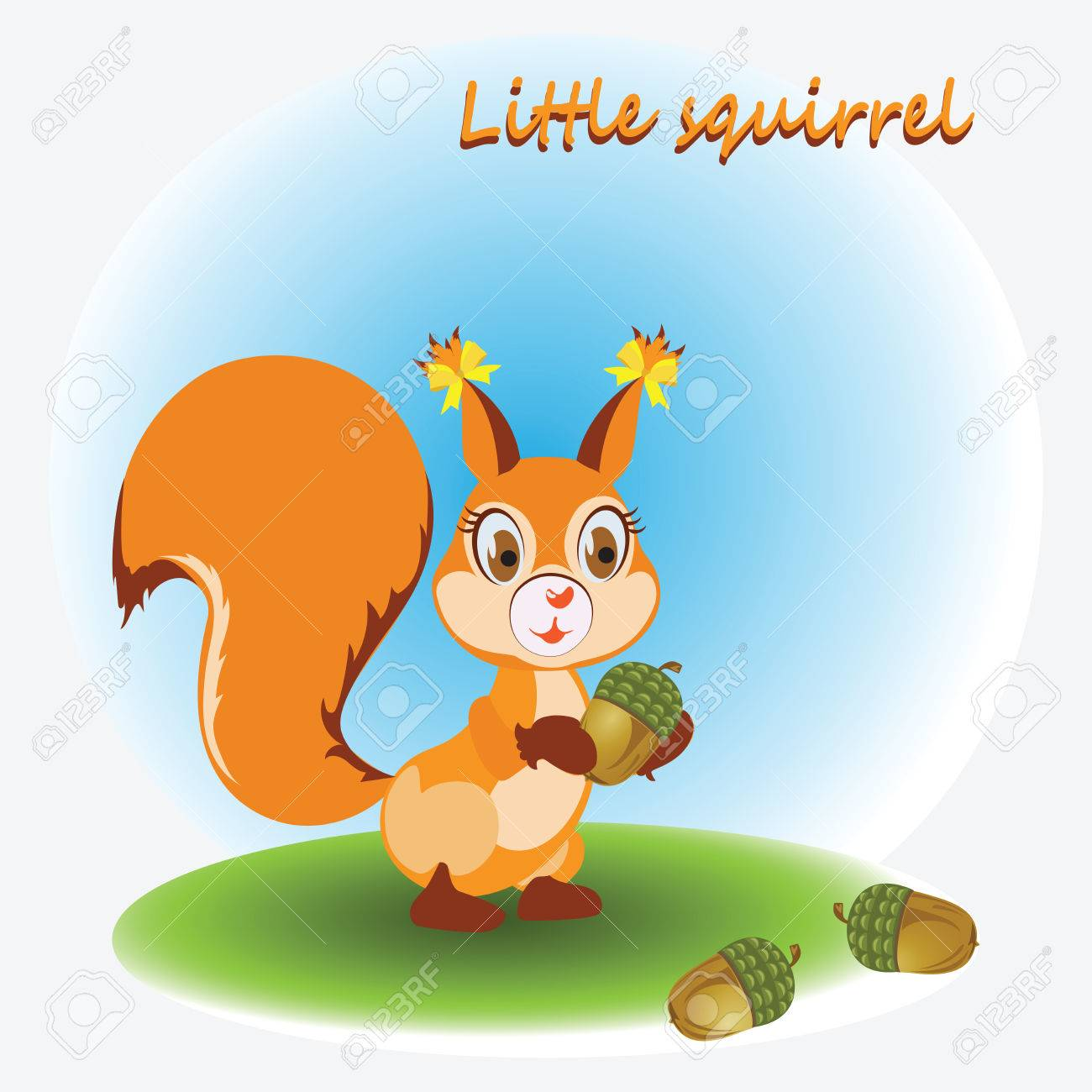 1300x1300 Little Squirrel And Acorns. Zoo. A Child's Drawing. Nature