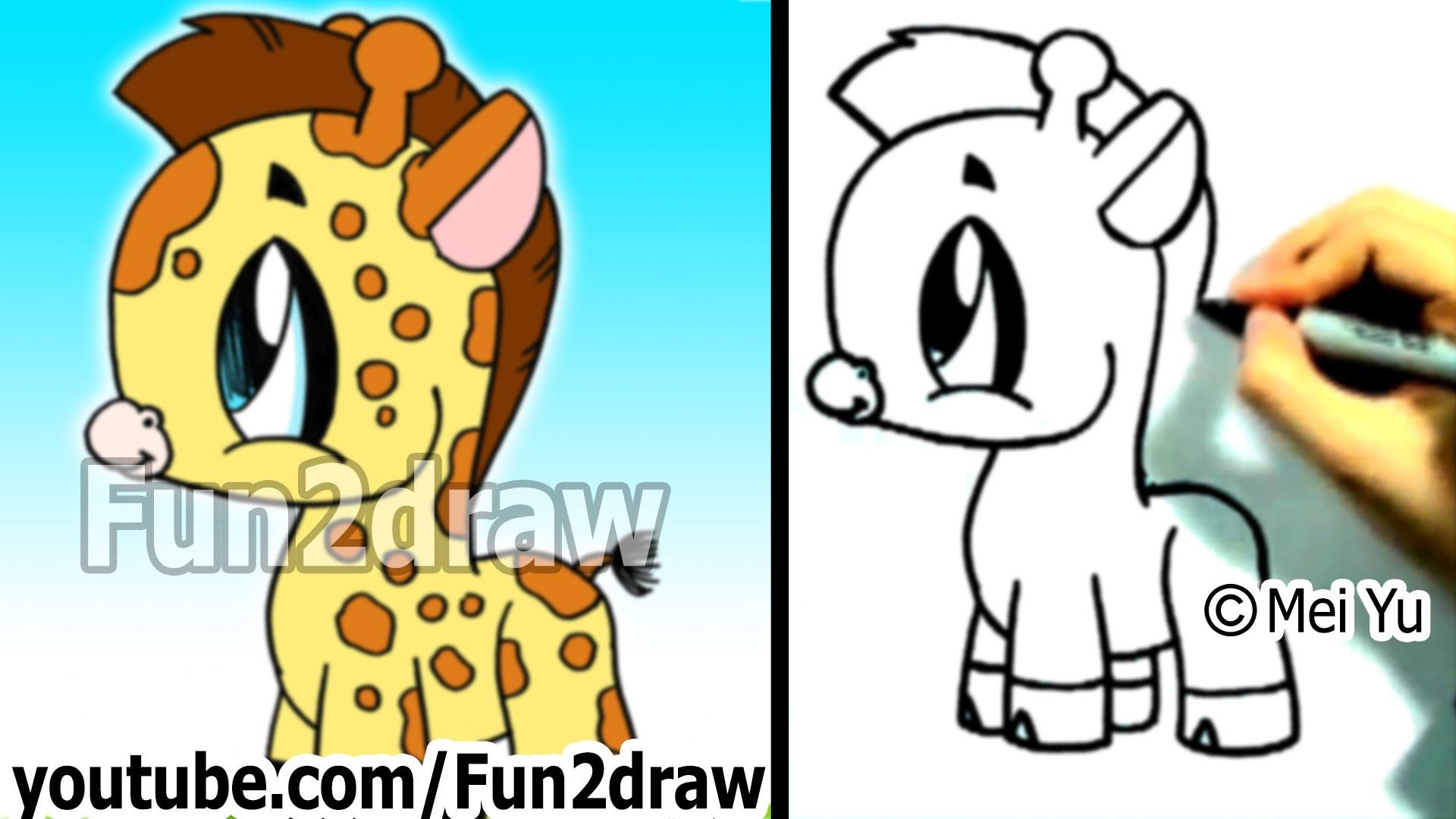 1920x1080 Sweet Looking How To Draw Cute Zoo Animals A Cartoon Giraffe