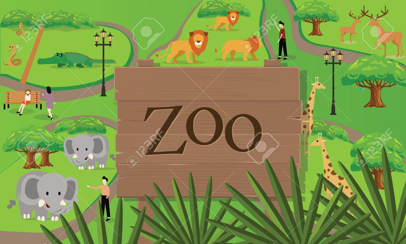 1300x780 Zoo Animals Map Sign Board Wood Nature Vector Drawing Illustration