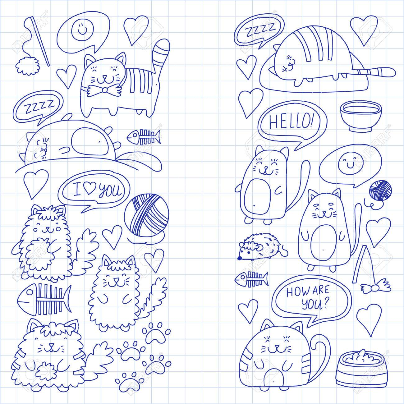 1300x1300 Cute Kittens Cat Icons Kids Drawing Children Drawing Doodle