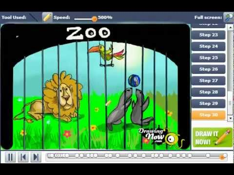 480x360 How To Draw A Zoo With Animals On Cages