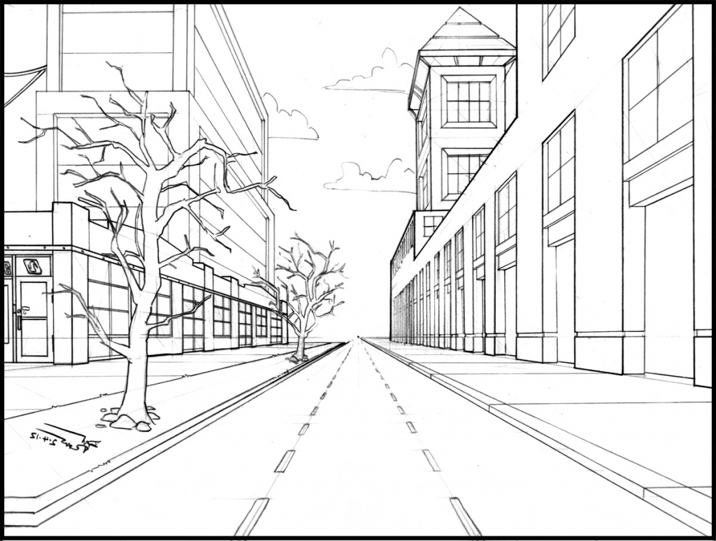 1024x774 Cityscape Using One Point Perspective A Therapeutic Art Journey