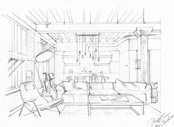 604x441 Interior Drawing. One Point Perspective. Interior Sketching, Hand