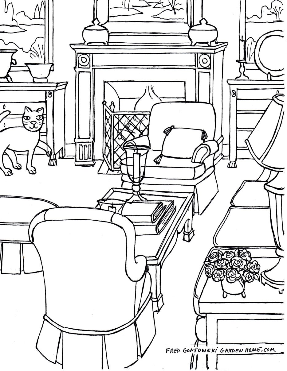 934x1209 Living Room Living Room Drawing Step By Best One Point