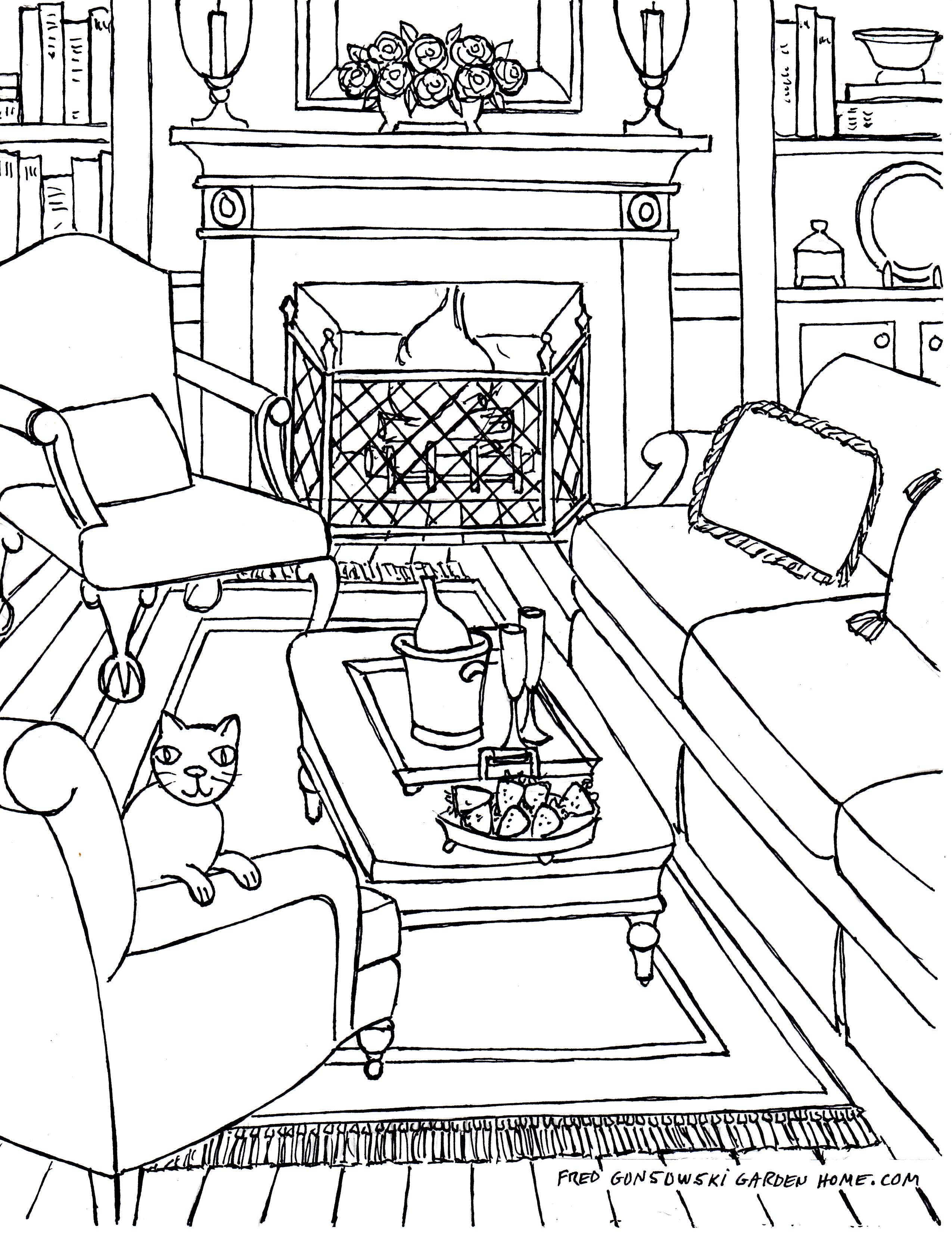 2550x3300 Living Room Living Room One Point Perspective Interior Drawing