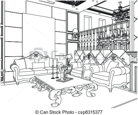 450x376 Living Room Drawings One Point Perspective Interior Drawing Hand