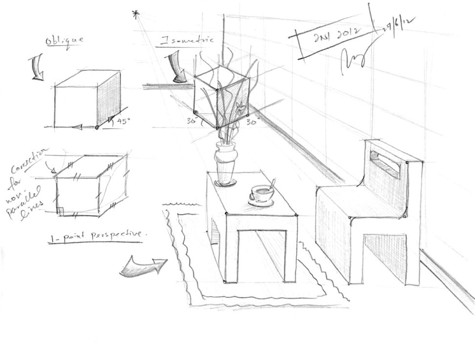 972x701 Oblique Drawing To One Point Perspective Design Example Features