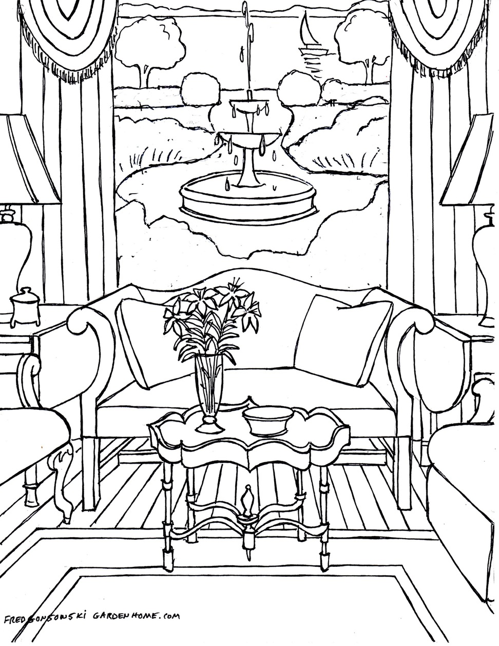 972x1258 One Point Perspective Interior Drawing Hand Living Room Sketch