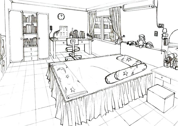 736x521 One Point Perspective Of A Kitchen Kitchen Plans Kitchen Plans One