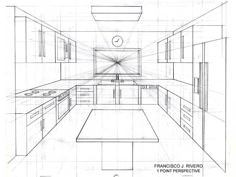 800x600 One Point Perspective Living Room Drawing