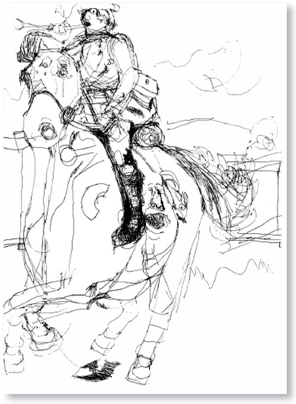 600x820 6 12 Year Old Nadia's Drawing Of Soldier On Horseback. Autistic