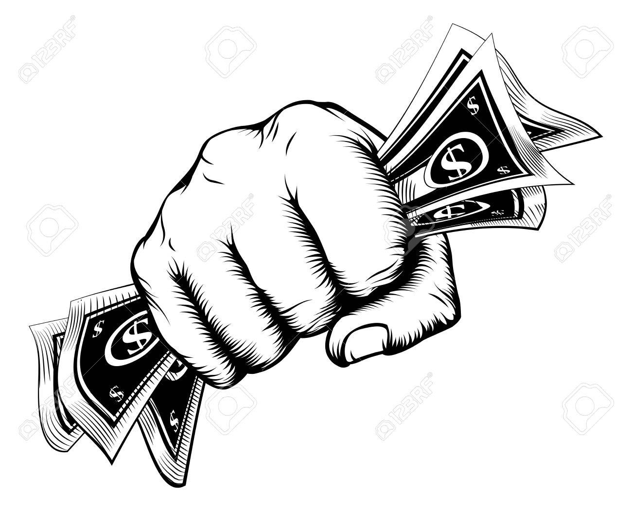 1300x1051 A Fist Holding Cash Money Dollar Bills In A Vintage Woodcut Style