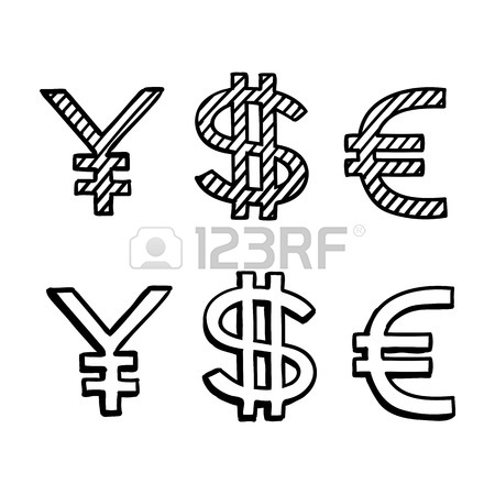 450x450 Hand Draw Doodle Sketch Money Icon, Dollar Euro Sign Royalty Free