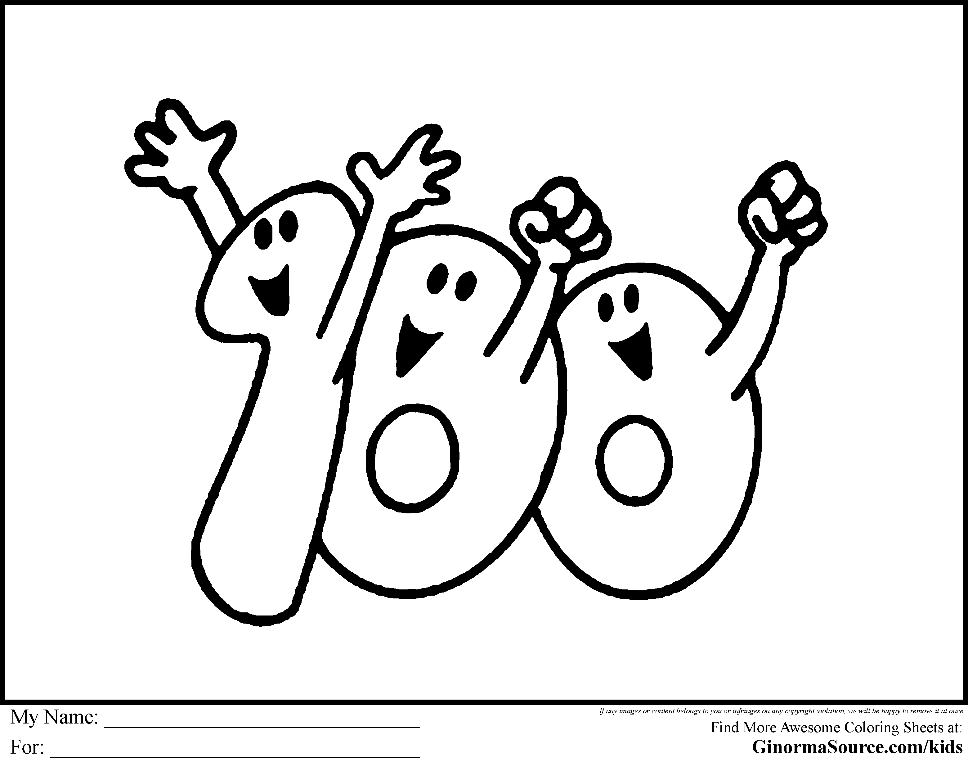 3120x2455 One Hundred Coloring Page
