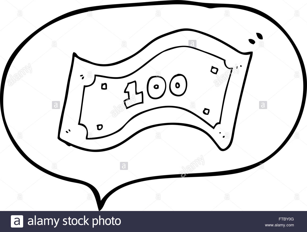 1300x983 Freehand Drawn Speech Bubble Cartoon 100 Dollar Bill Stock Vector