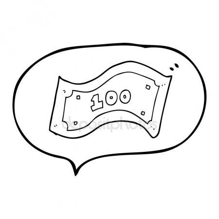 450x450 Speech Bubble Cartoon 100 Dollar Bill Stock Vector