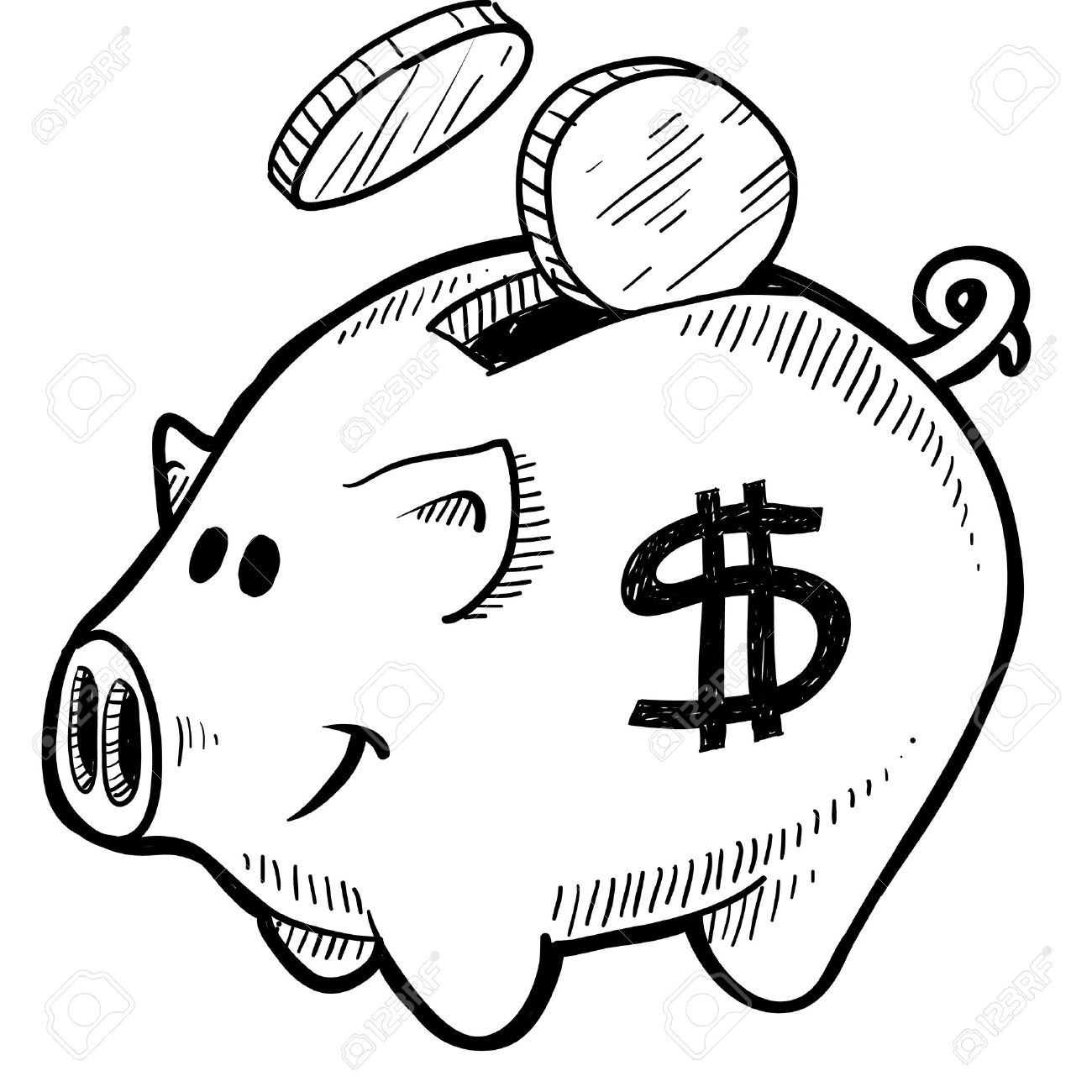 1300x1300 Doodle Style Piggy Bank With Dollar Sign And Coins In Vector
