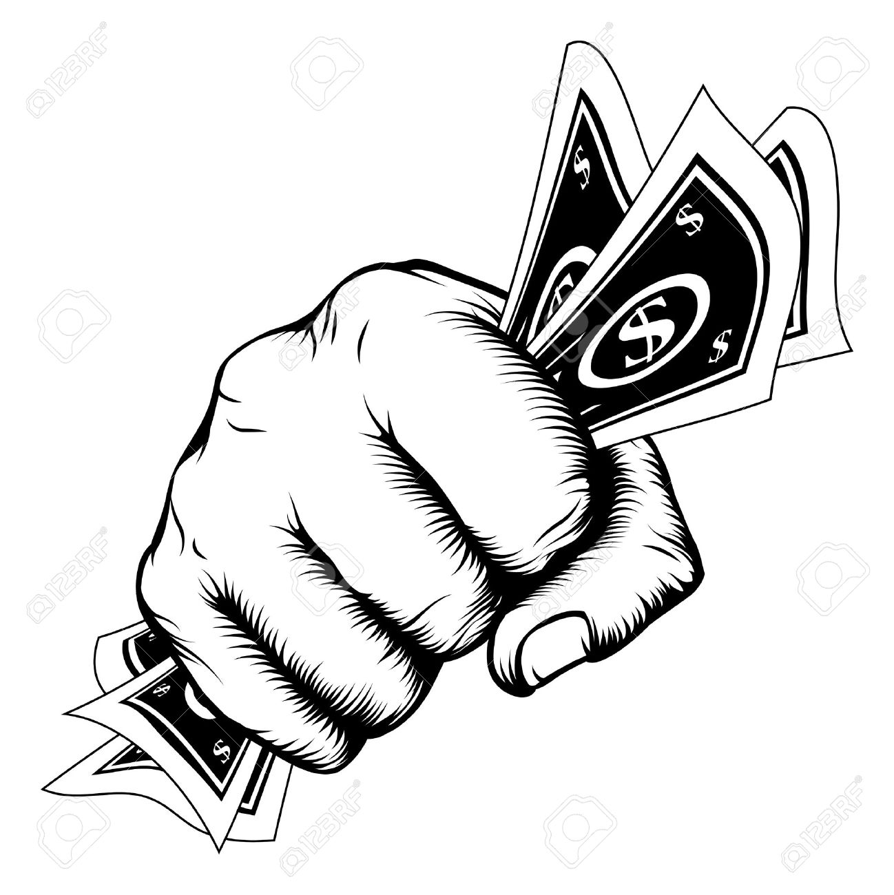 1298x1300 Hand In A Fist With Cash Dollar Bills Illustration In Woodcut
