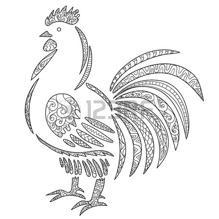 450x450 Black White Hand Drawn Doodle Bird. Symbol Of The New 2017 Year
