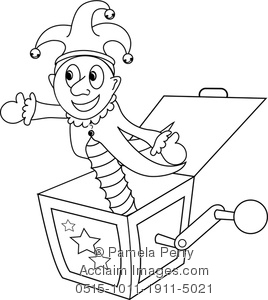 268x300 Clip Art Illustration Of A Jack In The Box Coloring Page