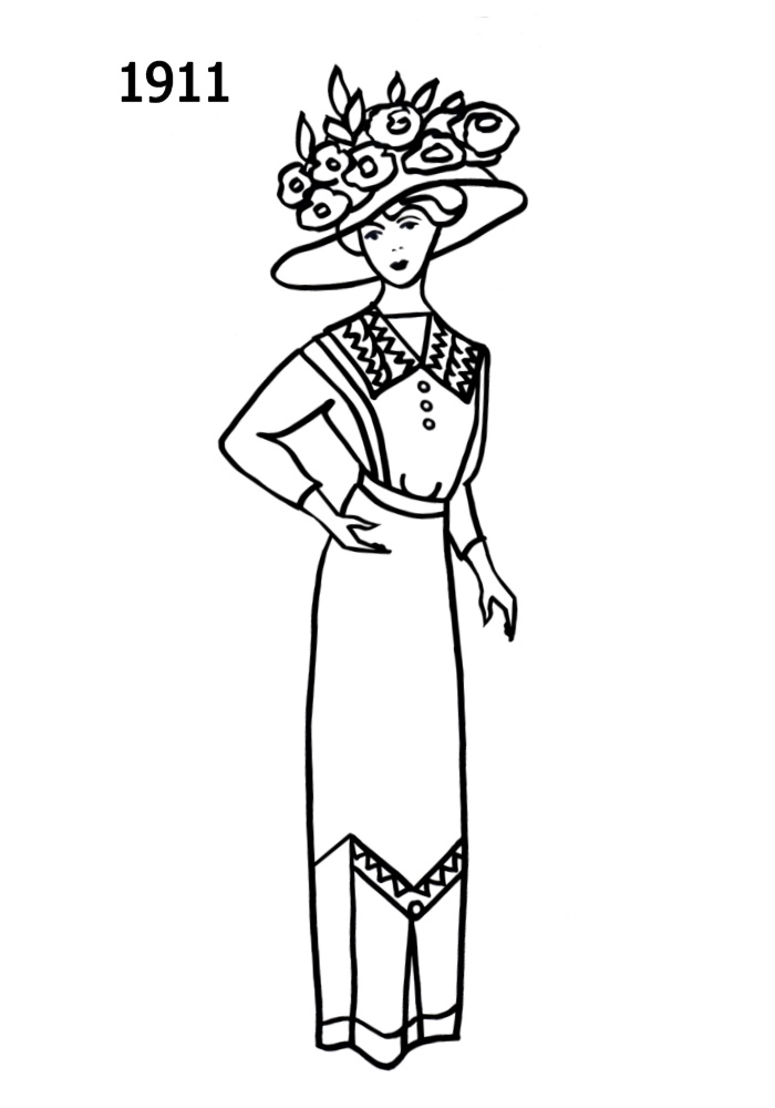 700x1000 Fashion Silhouette Timeline Drawing 1911 Edwardian Era Fashion